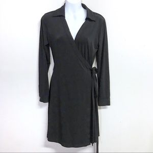 Calvin Klein Black Collared Wrap Dress Size 6
